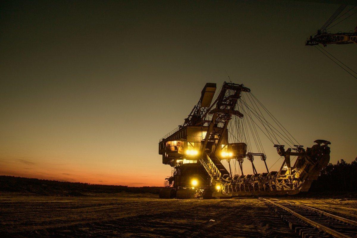 Mining excavator at dusk